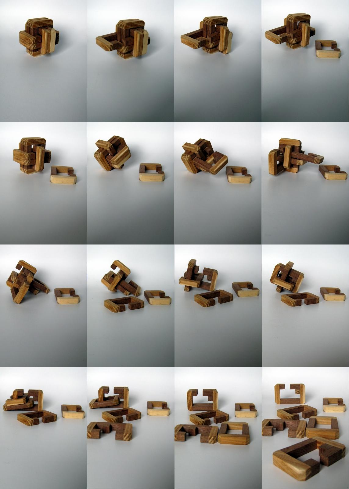 Casse t u00eate, puzzles et jeux mathématiques Archive du blog 6 Board Burr # Casse Tete En Bois Solution Cube